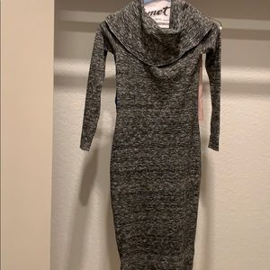 Heathered cowl neck sweater dress